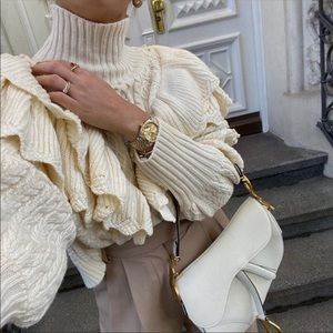 Zara Ruffle Cable Knit Sweater Blogger Favorite